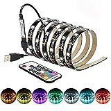 5 m USB LED TV Backlight epoxi impermeable multicolor, retroiluminación con controlador infrarrojo, TV, ordenador de fondo, iluminación 150 LED, 17 teclas a distancia 5 V