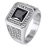 ZNKVJ Herren Europa Und Amerika Quadratische Diamant Edelstein Bohrer Paar Ringe,Silber Schwarz,Größe 65 (20.7)