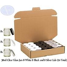 Pack combinado de 24 tarros con tapas blancas, negras y plateadas - Cristal transparente - 30 ml