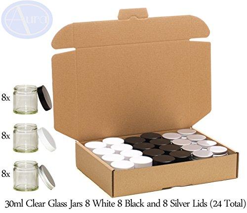 Confezione mista - Vasetti 30ml in vetro trasparente con coperchio bianco, nero o argento - Confezione da 24