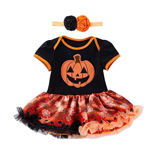 YASSON Baby Mädchen Halloween Kostüm Prinzessin Kürbis Bogen -