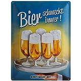 Nostalgic-Art 23139 Open Bar - Bier schmeckt immer Tablett, Blechschild 30x40 cm