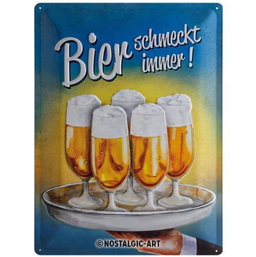 Nostalgic-Art 23139 Open Bar - Bier schmeckt immer Tablett, Blechschild 30x40 cm -