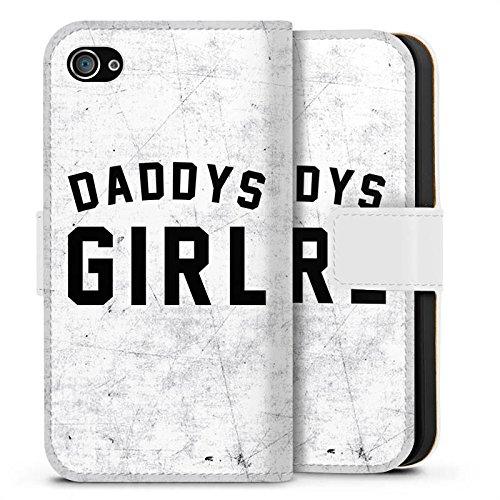 Apple iPhone X Silikon Hülle Case Schutzhülle Papa Mädchen Sprüche Sideflip Tasche weiß