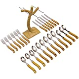 Livzing 24pcs Cutlery Set Spoon Fork Knife Wooden Design Plastic Handle and Stand for Kitchen and Dining Table