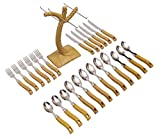 #9: Livzing 24pcs Cutlery Set Spoon Fork Knife Wooden Design Handle Stand For Kitchen And Dining Table