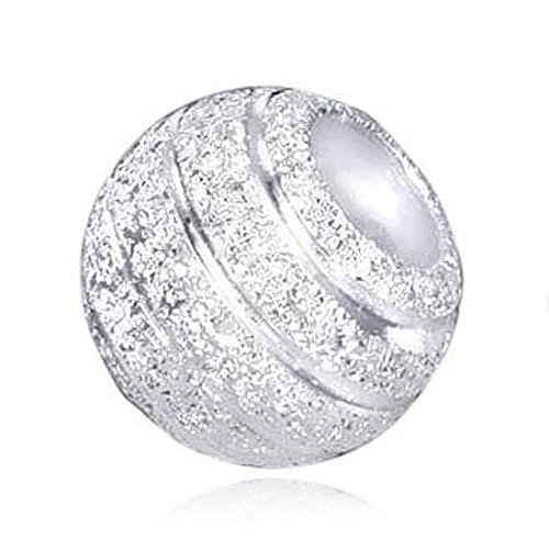 MATERIA Beads Anhänger Stardust 925 Sterling Silber diamantiert Glitzer Kugel mit Box / Premium #383