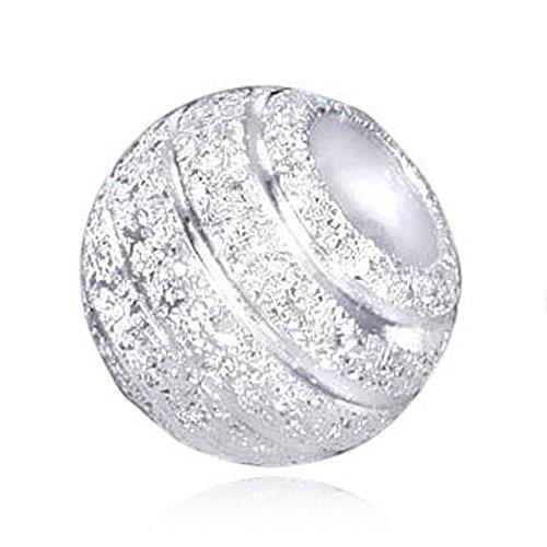 MATERIA Beads Anhänger Stardust 925 Sterling Silber diamantiert Glitzer Kugel mit Box/Premium #383 - Hülse Mit Silber Kugel