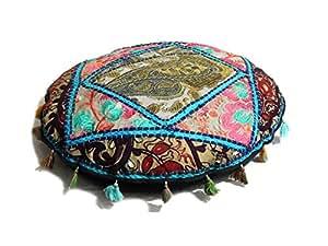 Fastyl fait main en Patchwork indien Pouf repose-pieds rond Style Oreiller décoratif Multicolore 24 cm