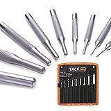 TACKLIFE Chasse-goupilles 9 Pièces en Chrome Vanadium en Acier Renforcé 1.5, 2, 3, 4, 5, 6, 7, 8, 10 - Résistant à la Corrosion Outil avec Support pour l'automobile, Armurerie, Montre PP01