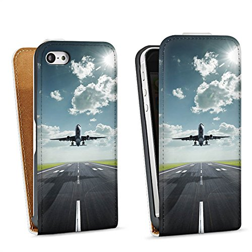 Apple iPhone 5s Housse Étui Protection Coque Avion Décollage mouches Sac Downflip blanc