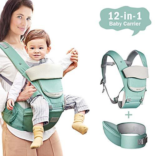 Babytrage Neugeborene 12 in 1 baby tragesystem Ergonomisch Atmungsaktiv Baby Tragesystem mit Rutschfest Hüftsitz, Lätzchen, Haubenkopf, Abnehmbare Fronttasche für Kinder 0-36 Monate Neugeborenes
