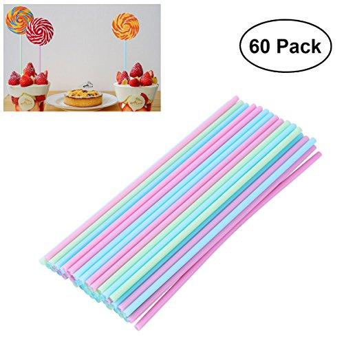 (OUNONA 60 Cake Pop Sticks 15 cm,Pastellfarben,Kitchencraft,Kunststoff Stiele für Kuchen)