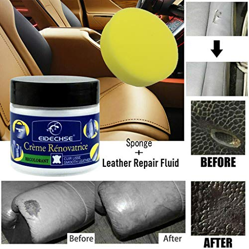 h Leather Repair Filler Compound Cream Leder Balsam Spachtelmasse Rissreparatur Restoration Kunstleder Flüssigleder Lederpflege für Auto Möbel Cracks Burns Car Seat (1 PC+Schwamm) ()