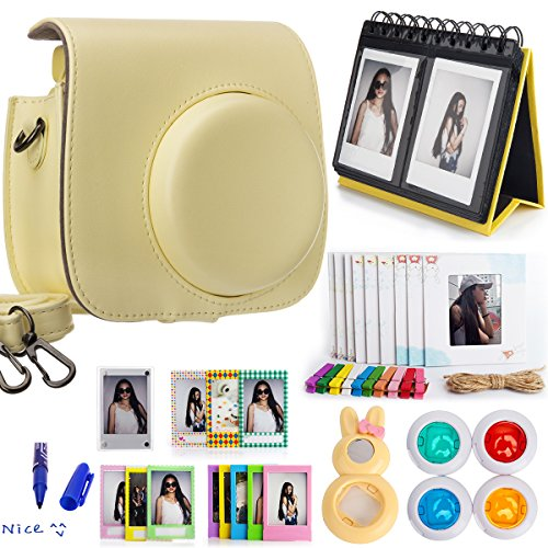 Woodmin 10-in-1 Accessori Bundle per Fujifilm Instax Mini 8 Camera giallo(Mini 8 caso / album / Frames / Film Adesivi / filtri / Mark penna / Selfie-Lens)