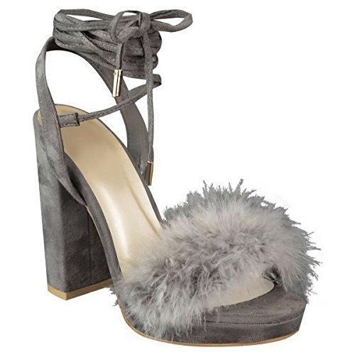 Miss Image UK , Damen Sandalen , grau - Grey Faux Suede / Fluffy Marabou - Größe: 42 (Faux Suede Strappy Wedges)
