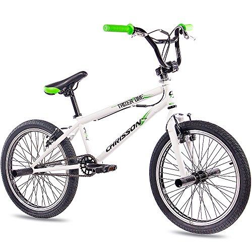 CHRISSON - Bicicleta de BMX TRIXER ONE de 20 pulgadas, rotor de 360grados y 4pedalines, blanca