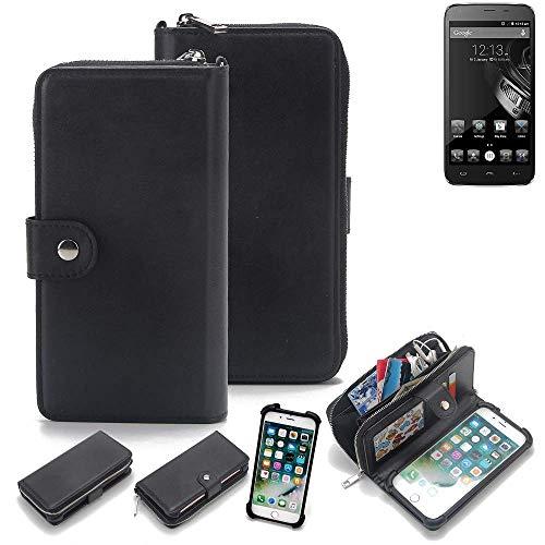 K-S-Trade 2in1 Handyhülle für Homtom HT6 Schutzhülle & Portemonnee Schutzhülle Tasche Handytasche Case Etui Geldbörse Wallet Bookstyle Hülle schwarz (1x)