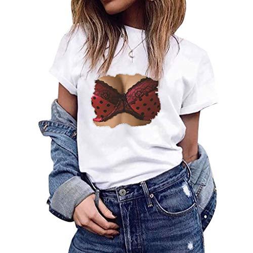 Vovotrade Maglia Girocollo Tops Camicie Oversize Donne Camicetta Elegante con Stampa Camicia Ragazza Estate Camicie Moda Estive Magliette Carino Slim Fit T-Shirt Maglie Blusa