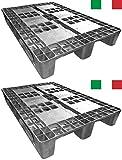 Cenni 12002 Set 2 Kunststoff Paletten 1200 x 800 mit 3 Kufen, Europaletten, Made in Italy