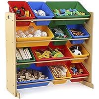 Preisvergleich für Tot tutoren Primary Collection Kids Spielzeug Lagerung Organizer mit 12Kunststoff Mülleimer (rot, grün, blau, gelb)