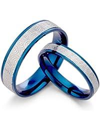 GEMINI Alliances homme femme bicolore Bleu & Argent, Ensemble d'alliances en titane, Valentine's Day Gifts, Size 46 to 78