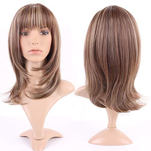 Parrucca castana/bionda lunga donna capelli frangia parrucche sintetiche full wig kanekalon hair stile europeo per vita quotidiana cosplay halloween carnevale