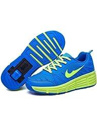 Zapatillas con ruedas automáticas para niños - Mod. 509 - Azul/Verde - Varias tallas