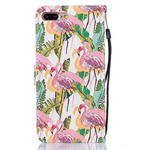 EUWLY Case Cover per iPhone 7 Plus (5.5),Ultra Slim Sottile Custodia Protettiva Portafoglio pelle PU Case Lusso Flip Stand Slot Funzione di Supporto Leather Wallet Case per iPhone 7 Plus (5.5)-Gatti Fenicottero