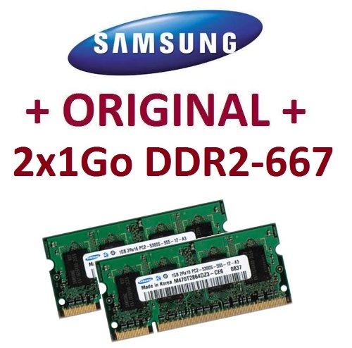 1-gb-ddr-sodimm-200 Pin (Speicher, 2 GB Dual Channel Kit SAMSUNG original 2 x 1 GB 200 pin DDR Speicher PC 2-667 2-5300 SO-DIMM (2 x M470T2864EH3 -CE6) DDR2 RAM Notebook Laptop Akku für Apple MacBook, MacBook Pro, iMac, mac mini (2006/2007), 100% kompatibel mit DDR Speicher PC 2-4200 2-533)