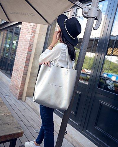AoBao ampio pacchetto di femmina singolo minimalista borse tracolla nuove donne del pacchetto del capacità di grandi dimensioni in stile occidentale mano marea wild madre-figlia Package Stock di argento