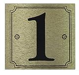 Casa o puerta número '1'-Autoadhesivo Negro en el oro