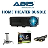 ABIS Projector Bundle: HD Smart LED Projector with Projector Screen, Ceiling Mount/Tripod Stand, 10m HDMI for Home Cinema, Gaming and Multimedia (HD6000+ Black + 100' Manual Screen)