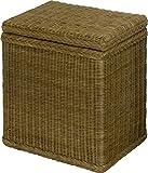Wäschekorb / Wäschebox aus echtem Rattan mit stabilem Deckel / Wäschesammler mit Inlett in der Farbe Oliv-Braun 46x30x50