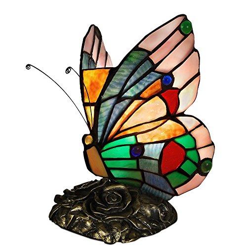 World Art TWAB08022 Papillon Abat Jour Lampe de Table de Nuit Style Tiffany Verre E14 Multicolore
