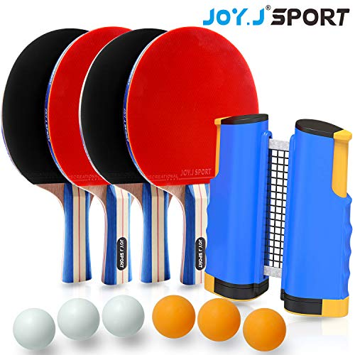 Joy.J Sport Tischtennisschläger Set - 4 Ping-Pong-Schläger, 6 Standard-3-Sterne-Bälle, 1 einziehbares Netz, Für Innen und Außen geeignet. Schläger Set mit tragbarer Schutzhülle