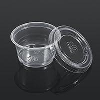50Pcs Cajas De Salsa De Plástico Transparente Chutney Desechable Cups Caja De Almacenamiento De Alimentos Con Tapas Food Takeaway Containers ( tamaño : 4OZ )