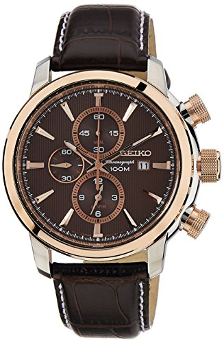 Seiko-Mens-Quartz-Watch-with-Brown-Dial-Analogue-Display-and-Brown-Leather-Bracelet-SNAF52P1