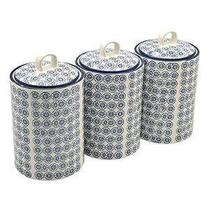 Boîtes à thé/café/sucre en porcelaine ornées de motifs - imprimé fleur bleue - lot de 3