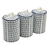 Vorratsdosen für Tee/Kaffee/Zucker - Porzellan - gemustert - Blauer Blumenprint - 3 Stück