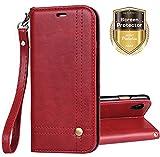 Custodia Xperia L1, Ferlinso Cover pelle elegante retrò con [Pellicola Protettiva] Custodia Slot Holder per carta di credito Custodia di chiusura magnetica per flip per Sony Xperia L1 (Rosso)