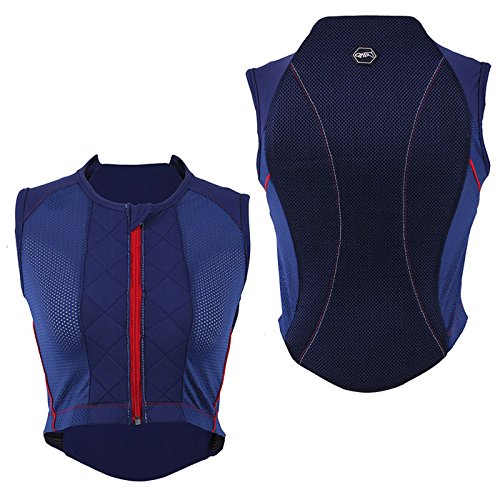 Rückenprotektor Junior Sicherheitsweste Rückenschutz Reitweste QHP Kinder Jugendliche ARBO-INOX® (Blau, L)