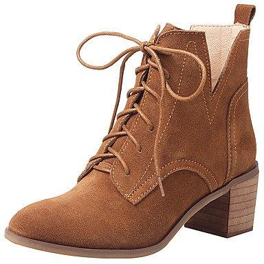 Rtry Chaussures Femme Véritable Cuir De Vache Automne Hiver Mode Bottes Bottes Bootie Chunky Talon Toe Booties / Bottines À Lacets Pour Casual Us10.5 / Eu42 / Uk8.5 / Cn43