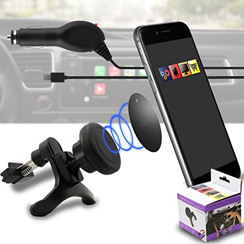 IWIO Auto Montieren Griff Magie Mobile Telefon Wiege Luft Vent Magnetisch Telefon Halter Universal Autohalterung Beinhaltet Mikro USB LED Licht 1 Ampere 1000 mAh Auto Ladegerät für LG Optimus LU6200 LTE