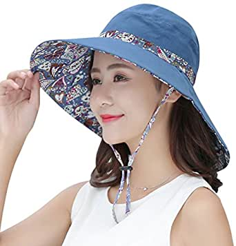 HINDAWI Sun Hats For Women Packable Wide Brim UV Protection Beach Hat -  Blue -  Amazon.co.uk  Clothing a510d15cfaf