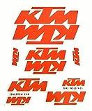 Aufkleber Sticker Set - K T M Motorrad - Orange - 10 Stück auf A4 Bogen (000)
