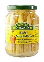 Feinkost Dittmann Baby-Maiskölbchen verfeinert mit mild-süßem Bienenhonig-Aufguss, 3er Pack (3 x 340 g)