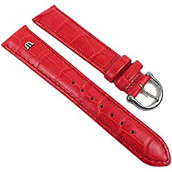 Maurice Lacroix Replacement Band Watch Band Leather Strap Lousiana-Croco-look red 21940S, Abutting:18 mm