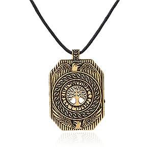 VASSAGO Vintage nordischen Wikinger Runen Lebensbaum Yggdrasil Odins Raben Anhänger Talisman Halskette