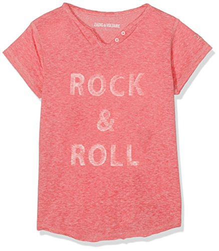 ZADIG&VOLTAIRE T- Shirt COL Tunisien, Fille, Rose (Atomic Pink), 12 Ans (Taille Fabricant: 12A)